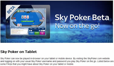 Sky Poker Beta Mobile App