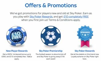 Sky Poker current promotions offers