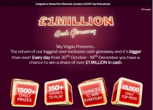 Sky Vegas £1m Cash Promotion
