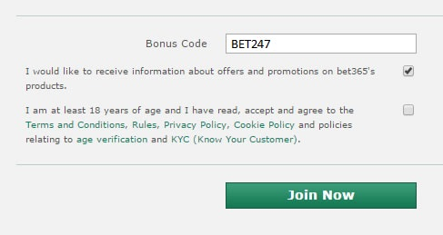 Bonus code illustration for bet365